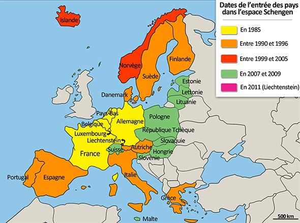 当初の5カ国や、その後に加わった国々が色分けされて示されている