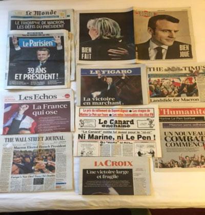 決戦投票翌日の新聞 5月7日の決戦投票翌日の新聞は一面でマクロンが第25代フランス大統領になったことを報じた。各紙の一面報道を見ると新聞社の姿勢がわかって面白い。