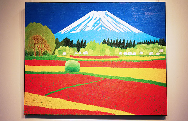 色鮮やかな富士山を描いた作品