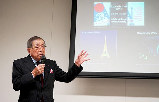 日本とフランスの知られざる関係についてレクチャーされた磯村氏